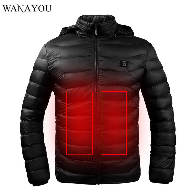 Winter Warm Heated Jacket Men Women USB Infrared Heating Hooded Jacket Electric Therml Clothing Waterproof Skiing Hiking Jacket