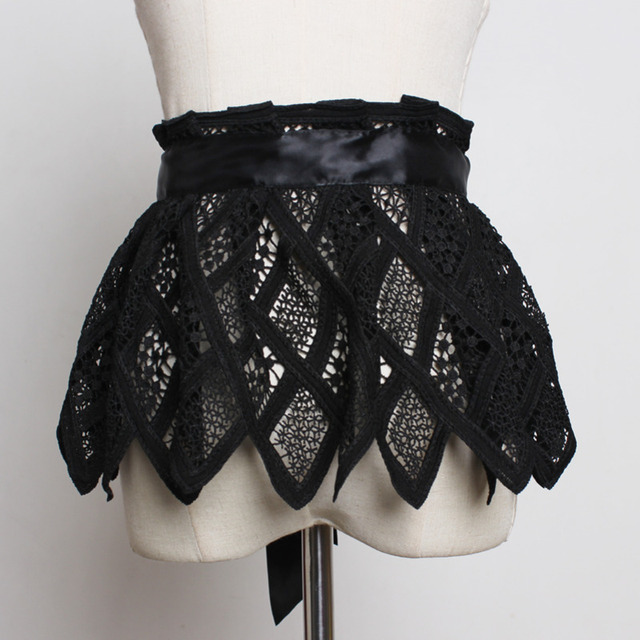Hot Sale New Fashion Trendy Fashion Corset Belts For Women Solid Lace Panel Drawstring Wide Belt Sweat Mini Skirt Female ZK297 2