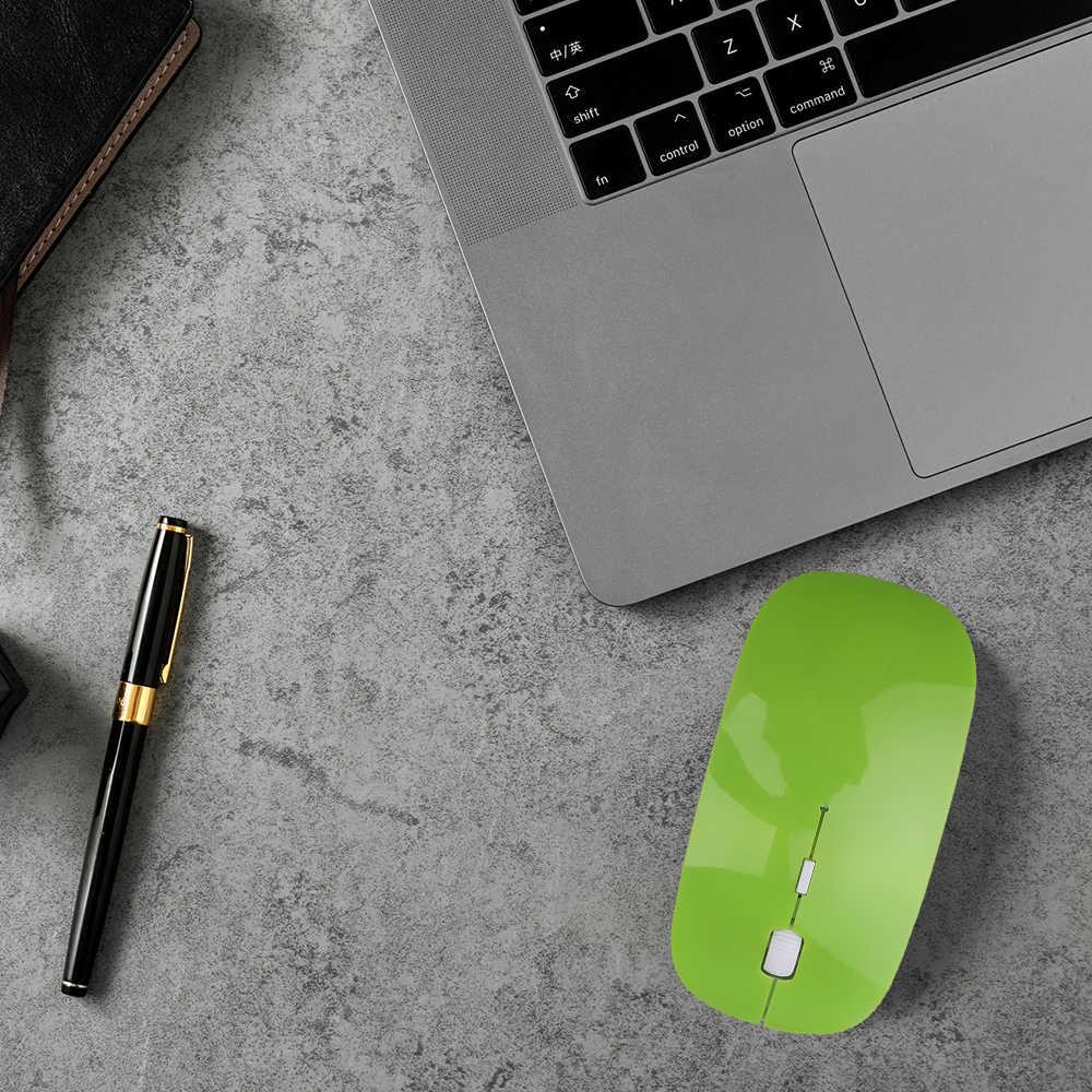 Kebidumei 2.4 GHz USB Wireless Optik Mouse Mouse SUPER SLIM Tipis Mouse Gaming dengan Receiver Mini untuk Macbook Laptop PC komputer