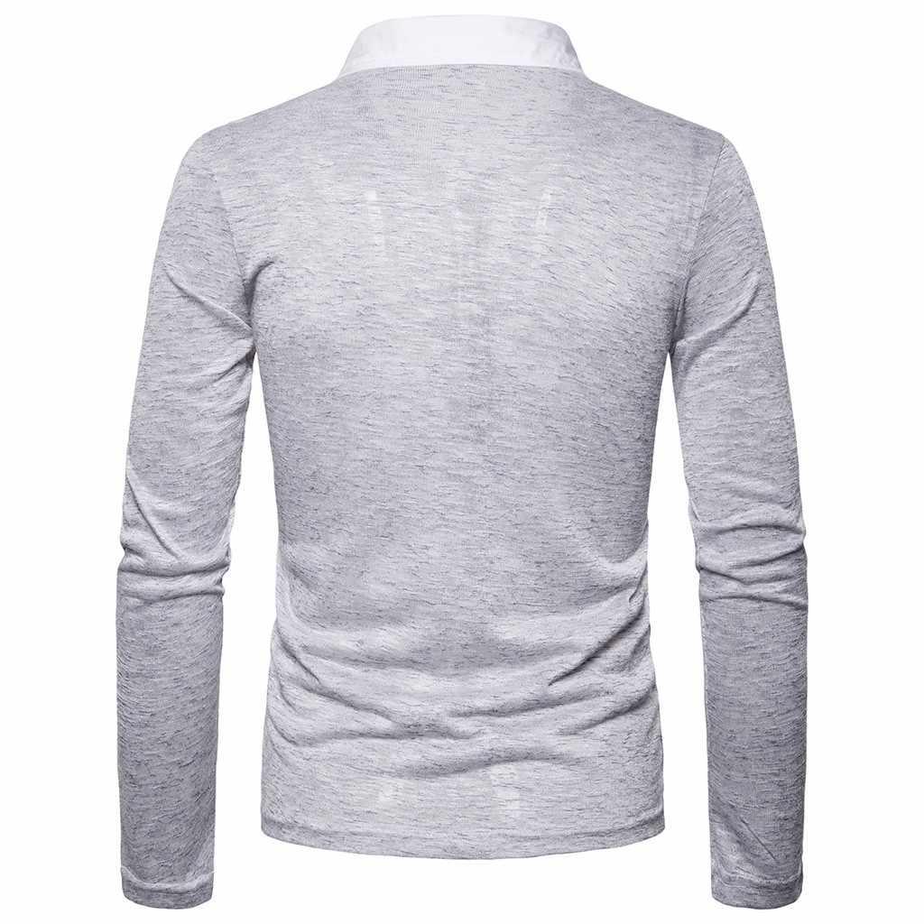 Pria untuk Musim Gugur Kerah Palsu Dua Lengan Panjang Polo Atasan Patchwork Tombol Slim Fit Turn-Down Collar Long lengan Blus Kemeja # LR1