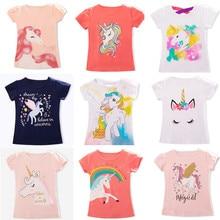 Детские футболки с единорогом для девочек, летние хлопковые футболки для маленьких мальчиков, Детские футболки, повседневные рубашки для детей 3, 4, 5, 6, 7, 8 лет