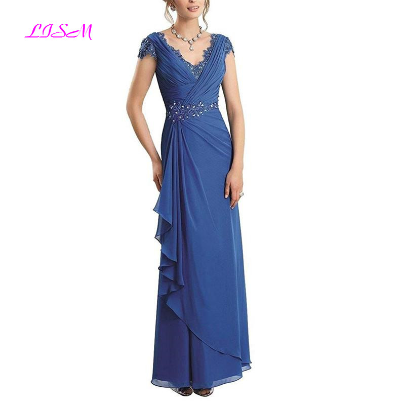 A-Line V-Neck Sleeveless Formal Gown Chiffon Lace Sheath Bodice Fashion Mother Formal Evening Party Dress