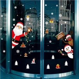 Image 5 - Cartoon Christmas Stickers for Window Showcase Removable Santa Clause Snowman Home Decor Decal Adhesive PVC New Year Glass Mural