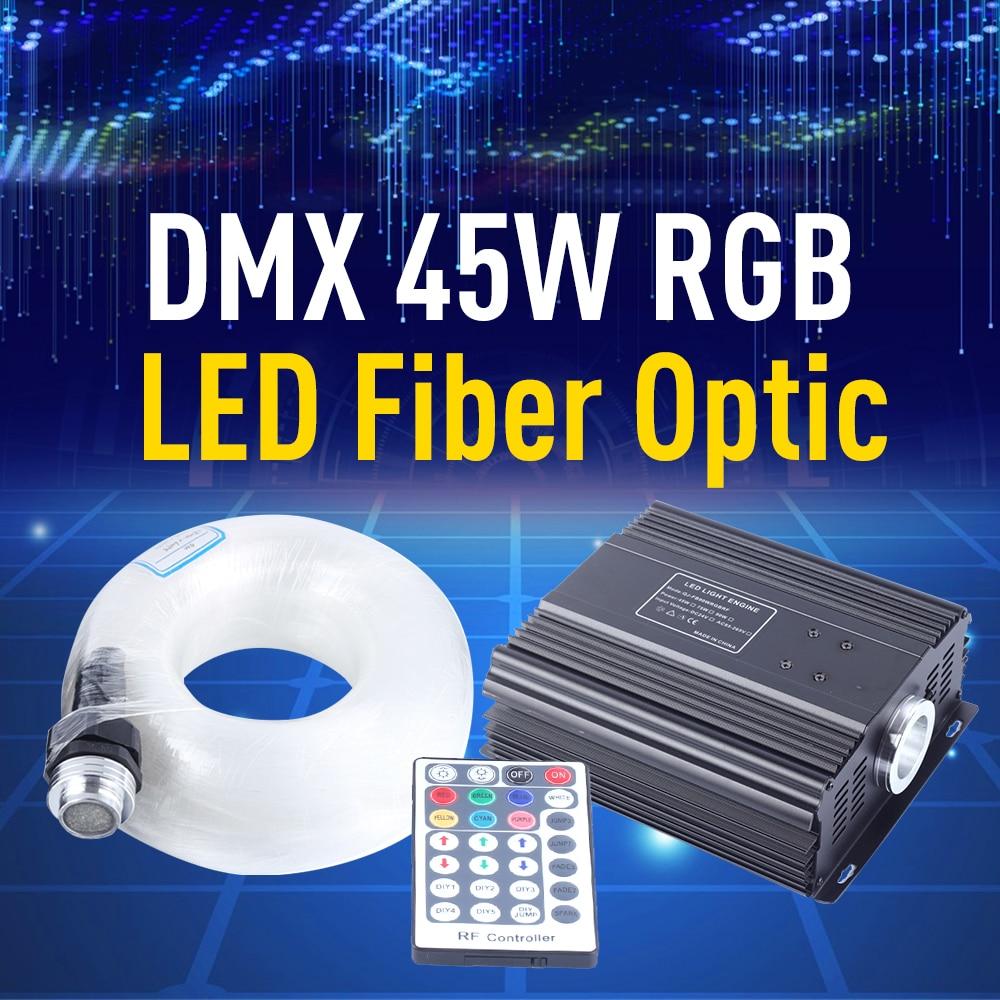 45W DMX RGB LED Fiber Optic Engine Driver Light 4m 550pcs 0.75mm Fiber Optic Cable 28 Key RF Remote Control Star Lighting