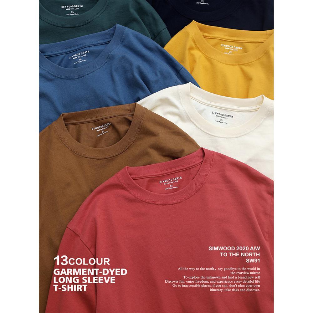 Футболка с длинным рукавом для мужчин SIMWOOD, Однотонная футболка с круглым вырезом из 100% хлопка размера плюс, модель SJ150278 на осень, 2020