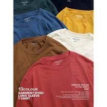 SIMWOOD 2021 printemps nouveau t-shirt à manches longues hommes couleur unie 100% coton haut col en o grande taille t-shirt de haute qualité SJ150278