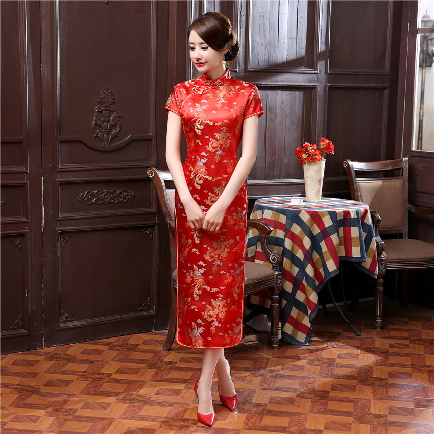 17colors Chinese Traditional Costumes Women Tight Bodycon Dress Cheongsam Tang Suit Dragon&Phoenix Print Split Dress Sexy Kimono