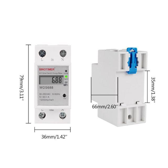 OOTDTY WIFI Din demiryolu AC 90-250V tek fazlı enerji ölçer anahtarı zamanlayıcı güç monitörü