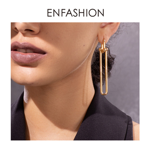 Image 5 - ENFASHION Geometric U Shape Drop Earrings For Women Accessories Gold Color Minimalist Long Dangle Earings Fashion Jewelry E1134