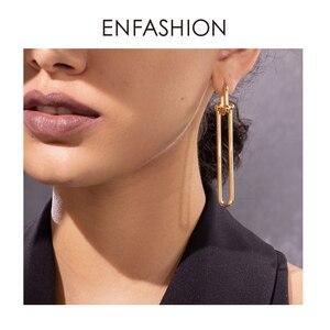 Image 5 - ENFASHIONเรขาคณิตU Shape Dropต่างหูสำหรับผู้หญิงอุปกรณ์เสริมGoldสีMinimalistยาวDangleต่างหูแฟชั่นเครื่องประดับE1134
