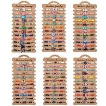 12 pçs/lote Boho Tartaruga Olho Coruja Strass Pulseira Trançada para As Mulheres Criança Cristal Bead Cadeia Corda Ajustável Yoga Tornozeleira Jóias