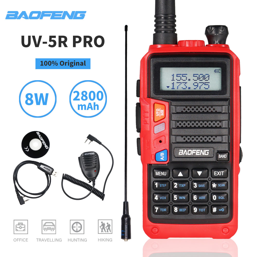 8W Baofeng UV-5R Pro Two-way Radio UV 5R Dual Band High Power 8Watts Walkie Talkie UV5R Pro FM Transceiver Portable CB Ham Radio