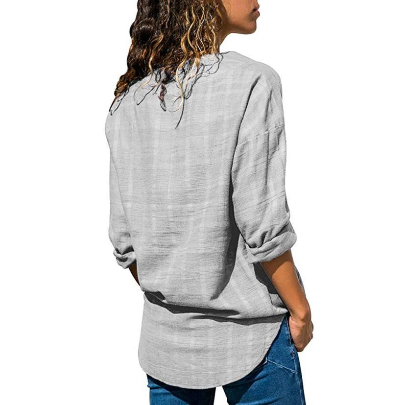 New Fashion Women Star V Neck Blouse Shirt Long Sleeve Female Sexy Tee Tops Women Cotton Linen Shirt Blusas Feminine Blouses in Blouses amp Shirts from Women 39 s Clothing