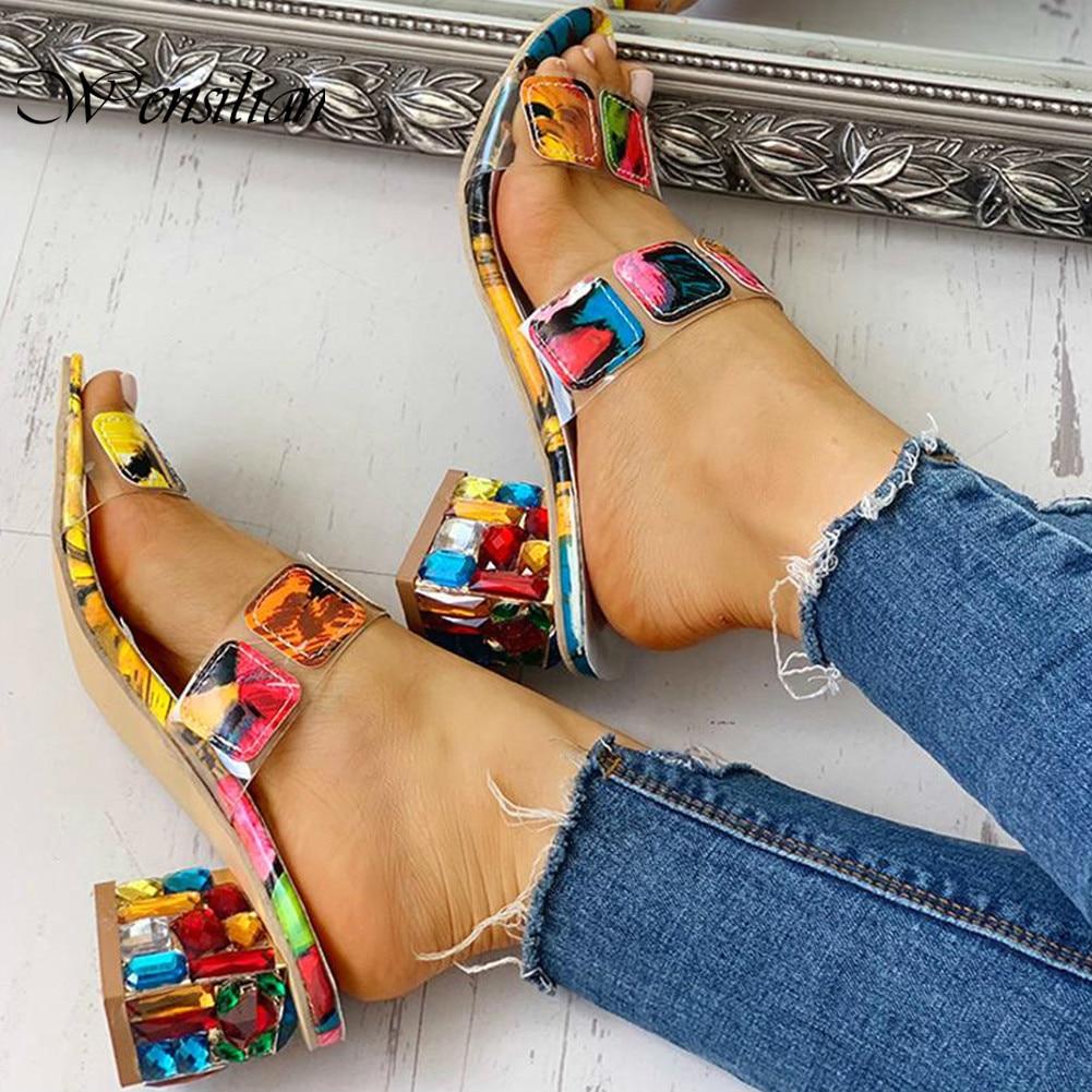 Summer Sandals Women Elegant  Sandals Ladies Casual Shoes Colorful Square Heels Sandalen Party Peep Toe Sandalia Feminina 2020