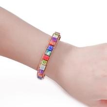 BOHO красочные кости форма натуральный камень один кожаный браслет обруча полудрагоценный камень квадратный бисерный Браслет-манжета