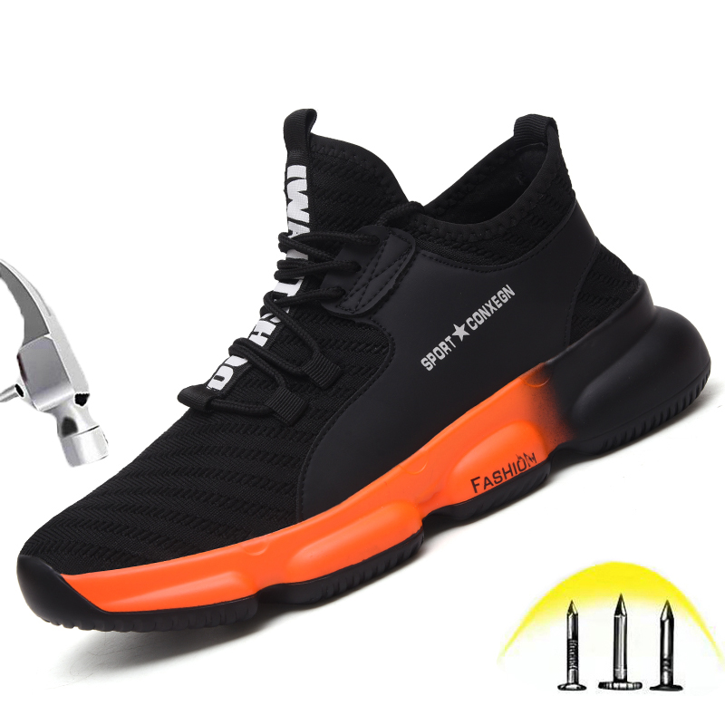 Ultra-light Steel Toe Safety Shoes Men Women Autumn Breathable Lightweight Wear Resistant Soft Sole Puncture Proof Work Shoes