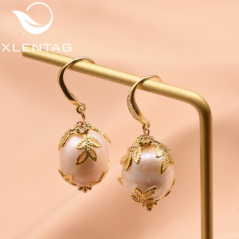 XlentAg Natural Baroque White Pearl 925 Sterling Silver Drop Earrings For Women Girl Wedding Gift Handmade Fine Jewelry GE0320