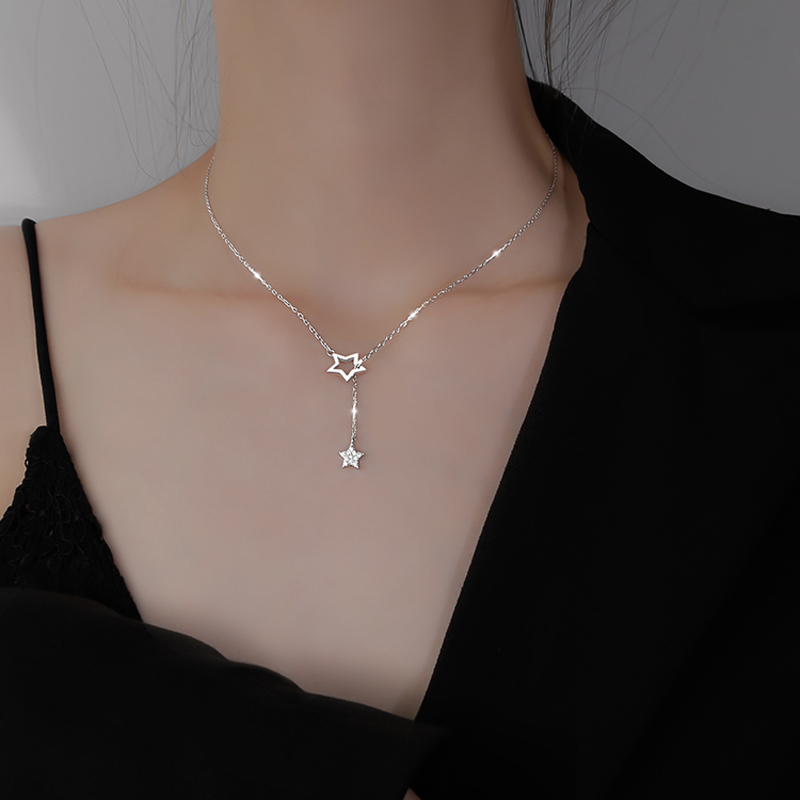 New 925 Sterling Silver Stars AAA Zirconia Chain Necklace Shiny star Pendants Necklace For Women Gift Fine Jewelry NK060