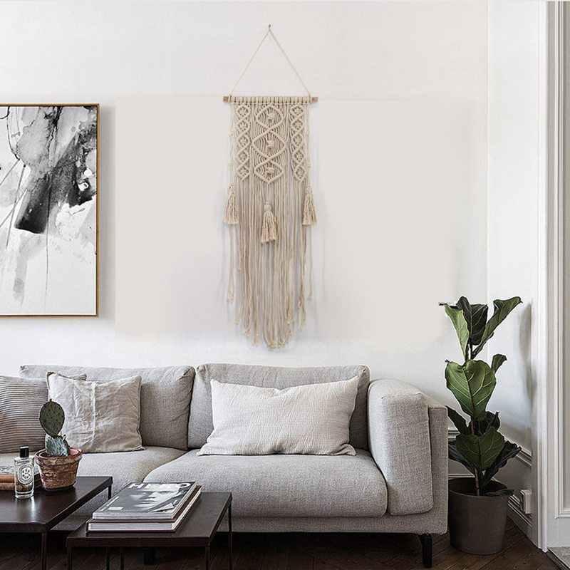 Makrama Wall Art Handmade bawełna ścianie wisi gobelin z tkaniny koronki czeski wiszące najlepsze