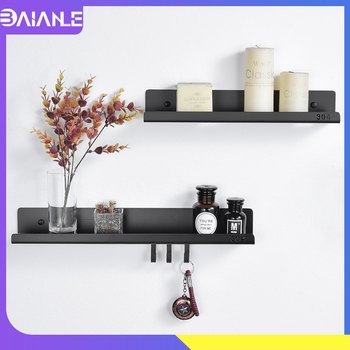 Bathroom Shelf Black Stainless Steel Bathroom Shelves with 3 Hooks Wall Mounted Shower Caddy Rack Decorative Shelves for Kitchen 2016 top fashion real shelves for bathroom toothbrush holder stainless steel bathroom shelf wall mounted storage rack 50cm kf175