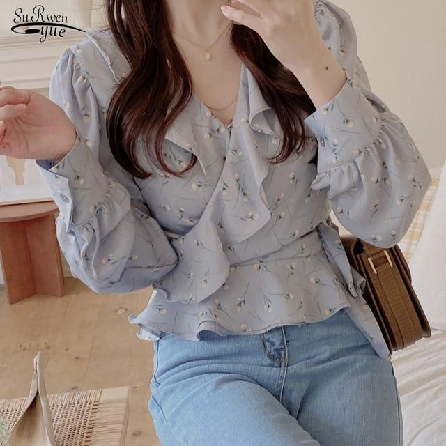 Blusas 2021 Spring Elegant Tops Blouse Women Long Sleeve Floral Chiffon Shirt Women Puff Sleeve Chic Office Lady Clothing 10249 1