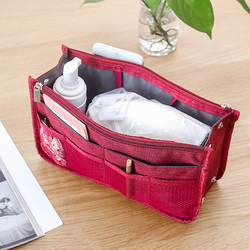 Portable Purse Organizer Multi-function Storage Cosmetic Bag Layers Travel Makeup Handbag Pouch Insert Make Up Bag Pencil Case
