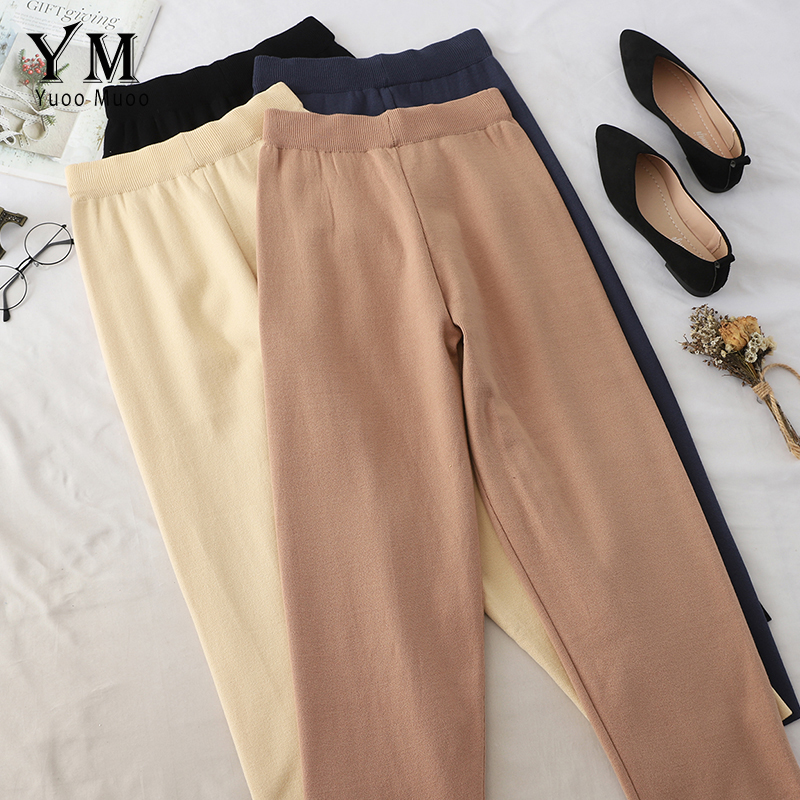YuooMuoo Autumn Wide Leg Pants For Women Casual Elastic High Waist 2019 New Autumn Fashion Knitting Pant Trousers Femme
