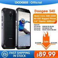 Mise à niveau 3GB + 32GB DOOGEE S40 MTK6739 Quad Core Android 9.0 4G réseau téléphone Mobile robuste IP68 5.5 pouces affichage 4650mAh 8.0MP NFC