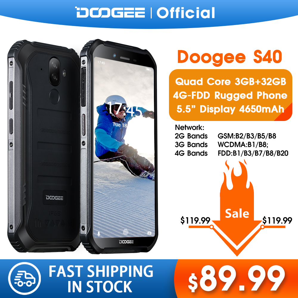 Upgrade 3GB + 32GB DOOGEE S40 MTK6739 Quad-Core-Android 9,0 <font><b>4G</b></font> Netzwerk Robuste Handy IP68 5,5 zoll Display 4650mAh 8,0 MP NFC image