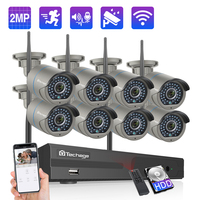 Techage 8CH 2MP Wifi NVR Camera System Two Way Audio Wireless CCTV IP Camera waterproof P2P Video Security Surveillance Kit P2P