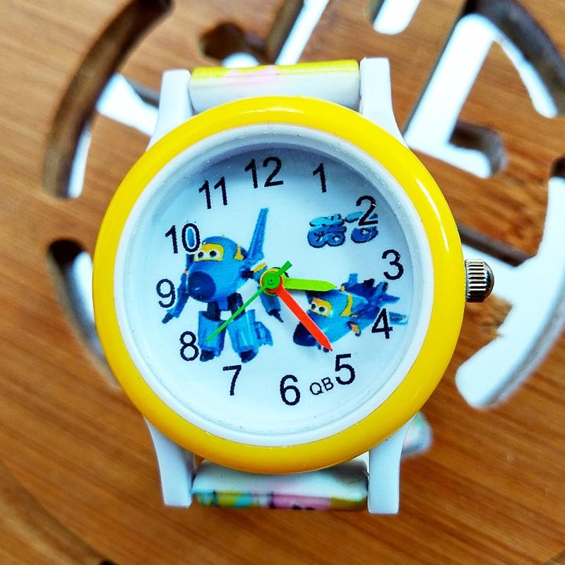 Cartoon Aircraft Car Style Children's Watches Kids Students Girls Boys Children Colored Silicone Strap Quartz Wrist Watch Clock