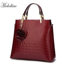 Mododiino Crocodile Women Handbag Fake Flower Shoulder Bag Luxury Handbags Purses Leather Croossbody DNV1178