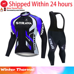 2020 Pro Team strava Cycling Jersey 20D Bib Set Belgium Bike Clothing Mens Winter Thermal Fleece Bicycle Clothes Cycling Wear
