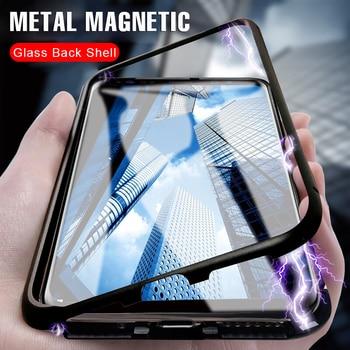 Перейти на Алиэкспресс и купить ДЛЯ ViVO V19 V17 Pro V15 V15 Pro V11i V11 Pro Z1 S1 Pro S5 Z5X IQOO NEO Y9S чехол для телефона Металлические Магнитные бамперы Задняя стеклянная крышка