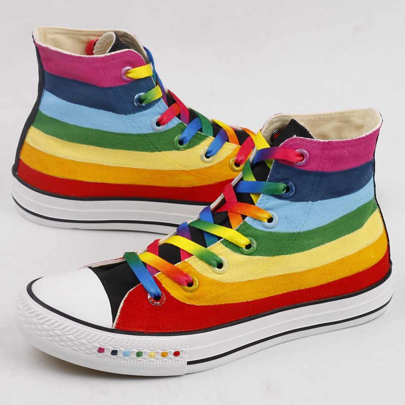 Zapatos de arcoíris de moda para mujer con cordones para amantes de Harajuku Arco Iris zapatos de lona casuales para adultos zapatos coloridos zapatillas planas de mujer
