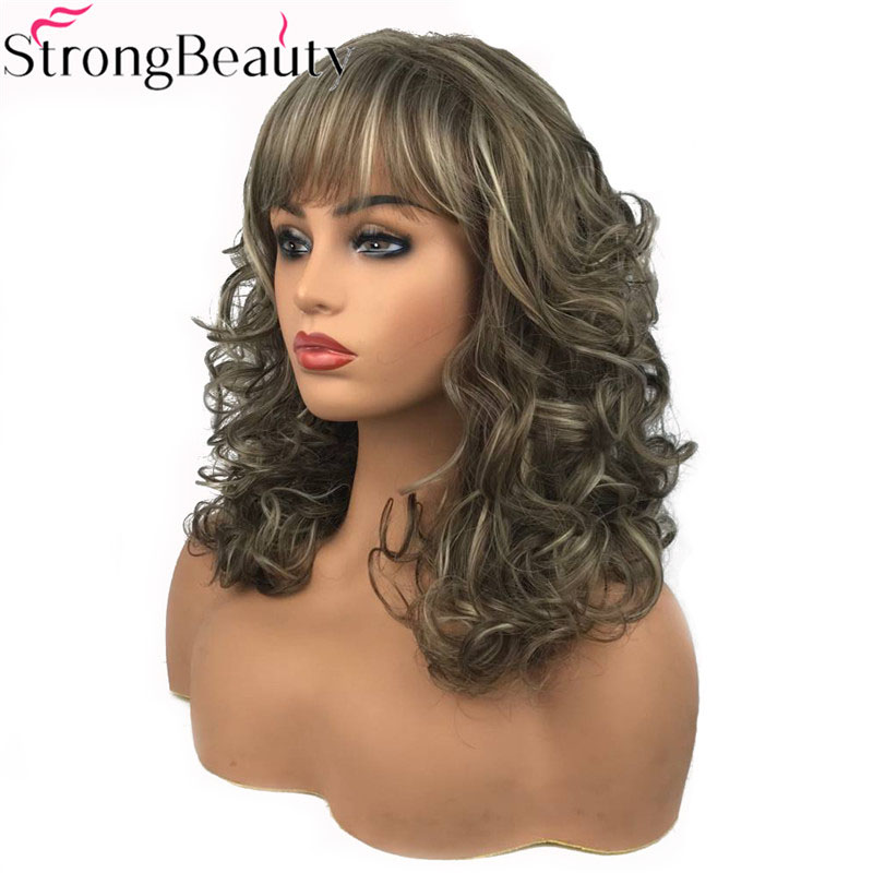 StrongBeauty Women's Long Curly Highlights Wigs Synthetic Wig Capless Hair