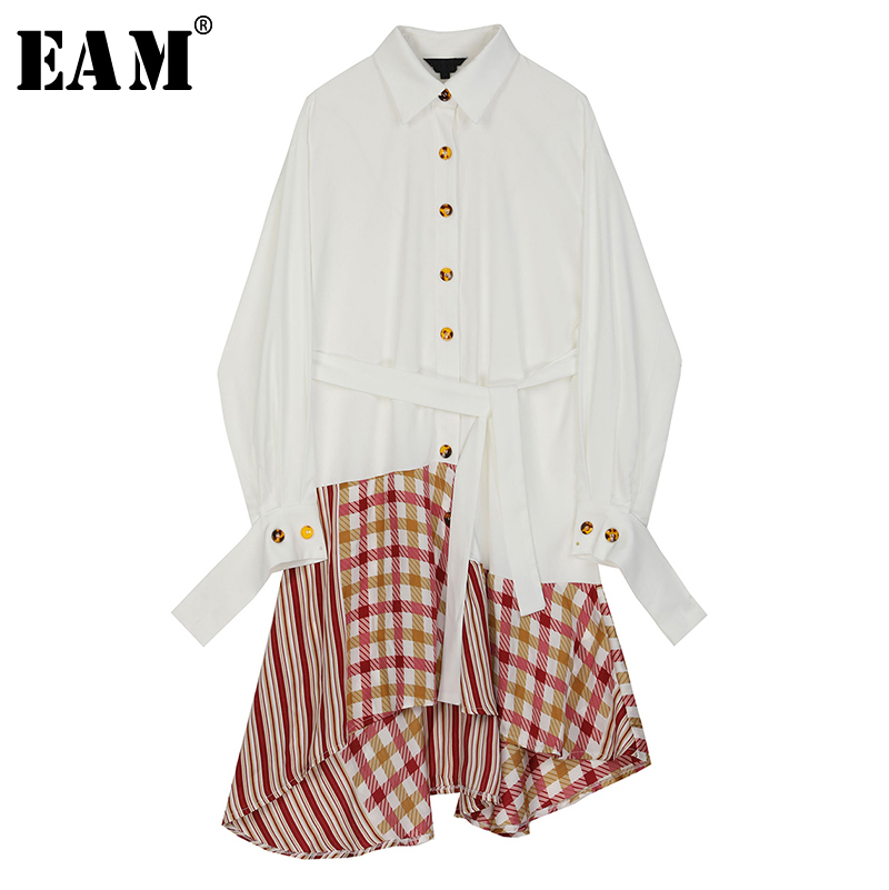 [EAM] Women White Plaid Asymmetrical Big Size Dress New Lapel Long Sleeve Loose Fit Fashion Tide Spring Autumn 2020 1R546