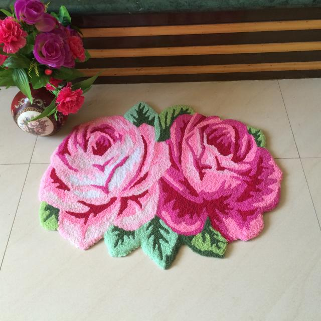 3D Pink Rose Carpet For Bathroom Rug  Livingroom Carpet Kitchen Flower Rug Enter Bath Mats Floor Mat Hallway Anti-slip