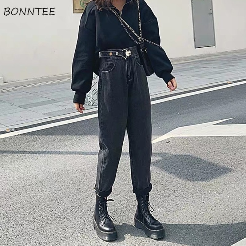 Jeans Women High Waist Harem Classic Vintage All-match 2XL Loose Plus Velvet BF Daily Harajuku Womens Trousers Fashion Ulzzang