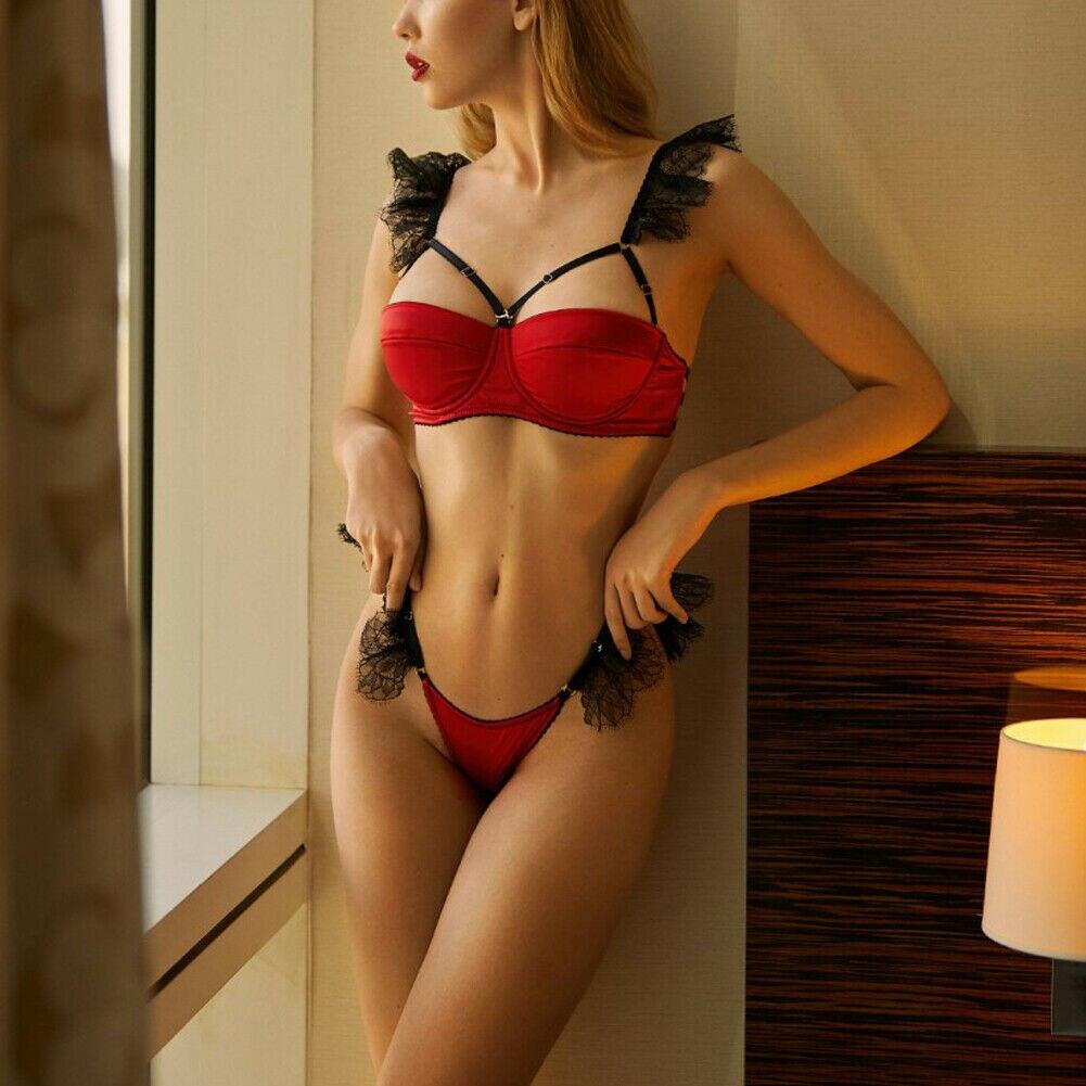 2pcs Sexy Lingerie Women Lace Satin Silk Patchwork Underwear Babydoll Sleepwear Lace Bra High Waist G-string Bra Brief Sets