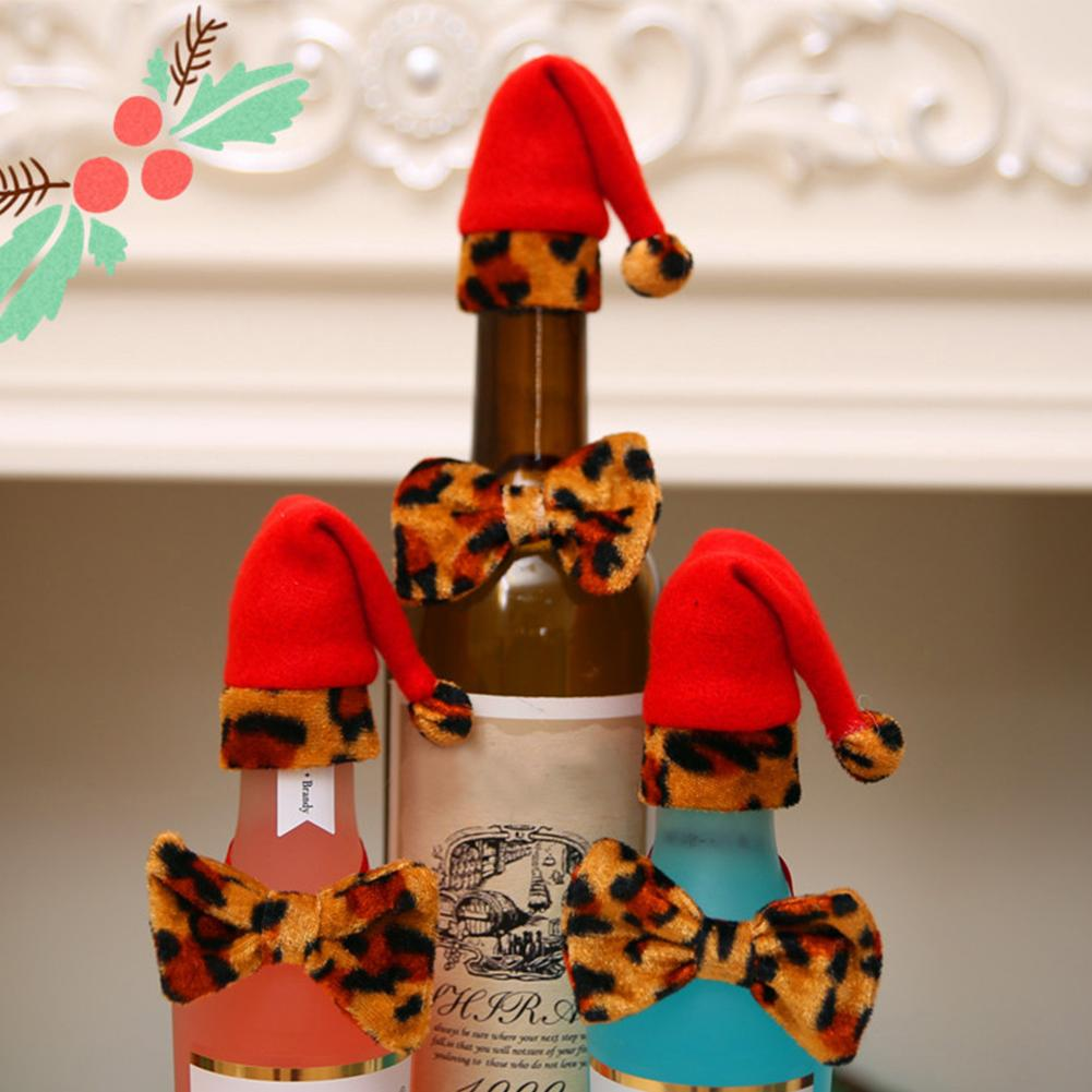 1 PC Hot Selling Drop Shipping Lovely Bowtie Christmas Hat Leopard Wine Bottle Cover Sets Xmas Party Table Decor
