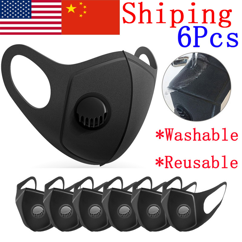 6Pcs Sponge Mouth Mask Breathing Valve Filter Unisex Reusable Dust Masks Prevent Saliva Respirator