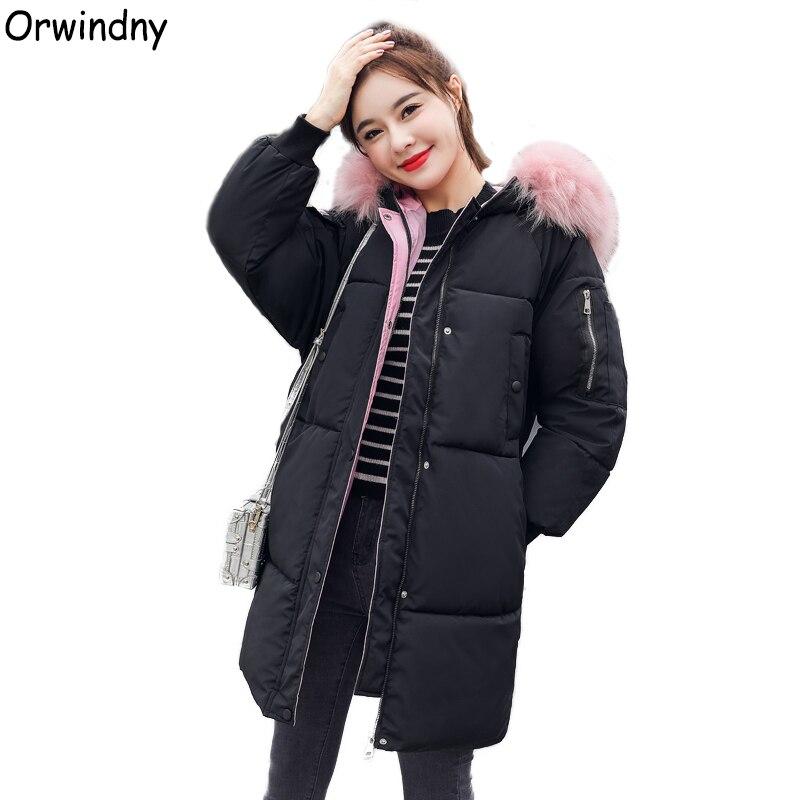 Orwindny Winter Coat Women Large Fur Collar Coat New Fashion Winter Jacket Women Hooded Jackets Cotton Padded Long   Parkas   Black Warm Coats