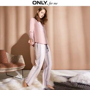 Image 2 - Chỉ Có Phụ Nữ Homewear Quần Dáng Rộng Mỏng Bộ Pyjama Sọc Quần