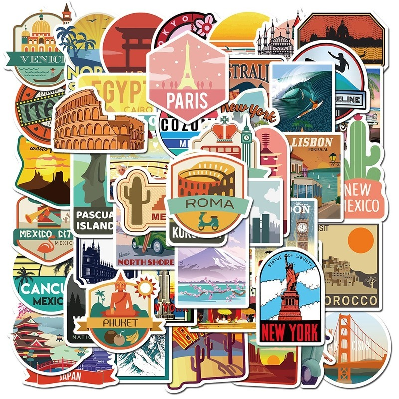 10/50pcs Travel City Landscape Cartoon Graffiti Sticker DIY Motorcycle Skateboard Notebook Suitcase Waterproof Sticker Decals