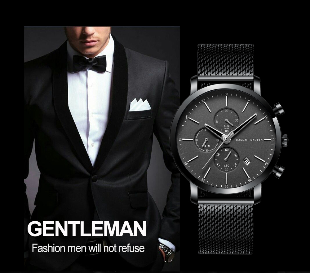 Men Watche Top Brand Fashion multifunction small dial Stainless Steel Mesh business Waterproof Wristwatches Relogio Masculino H54c1d92470e74495a28a69a2cb3c31d0A