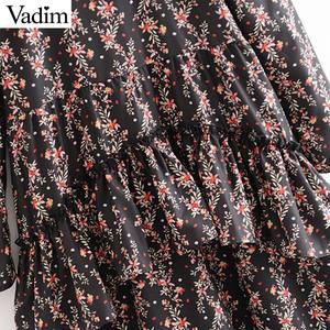 Image 5 - Vadim women elegant ruffled floral print dress long sleeve o neck midi dress female retro sweet dresses vestidos QC802