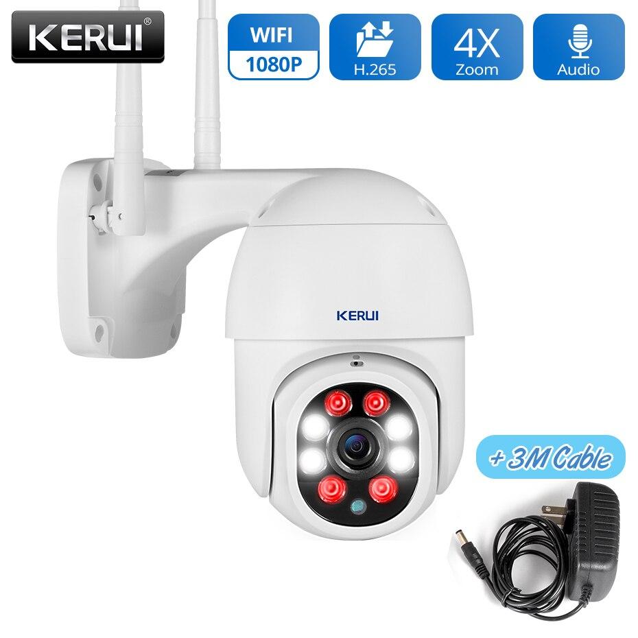 KERUI 1080P de PTZ Wifi IP Cámara al aire libre 4X Zoom Digital AI detectar cámara inalámbrica H.265 P2P ONVIF Audio 2MP cámara CCTV de seguridad