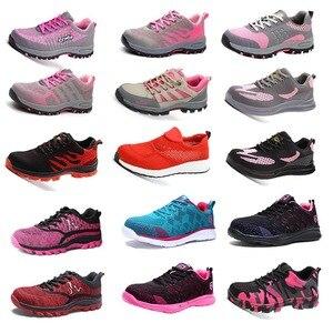 Image 2 - Botas de trabalho femininas com bico de aço, botas de trabalho para mulheres, malha respirável, leve, antiderrapante, sapatos de segurança tamanho 40