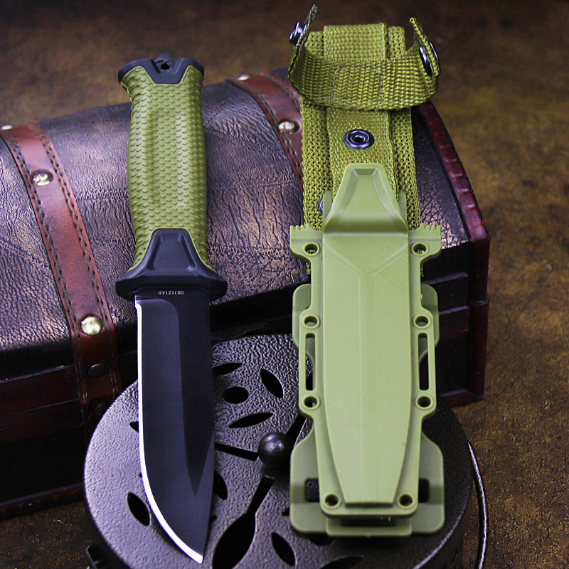 Army Green ABS quality Outdoor Tactical Knife 440C North American Safari Hunting knife outdoor rescue straight knife   scabbard